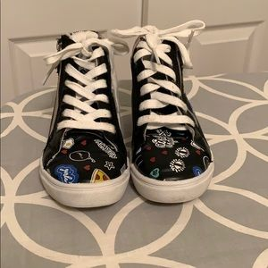 Madden Girls high top sneakers with side zippers